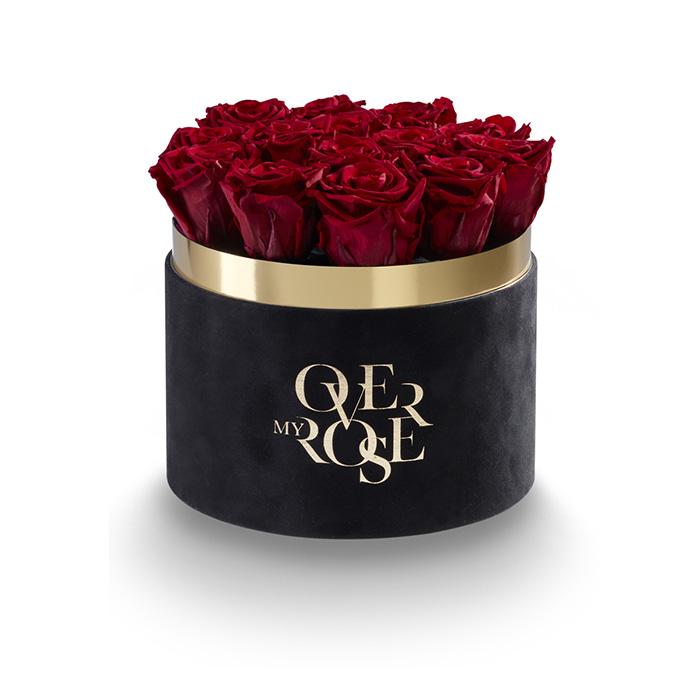 Composizione di rose stabilizzate CILINDRO-NERO-VELLUTO-ROSSE