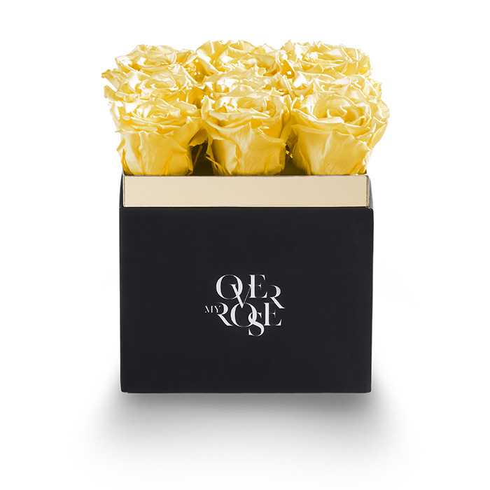 Composizione di rose stabilizzate grande gialla