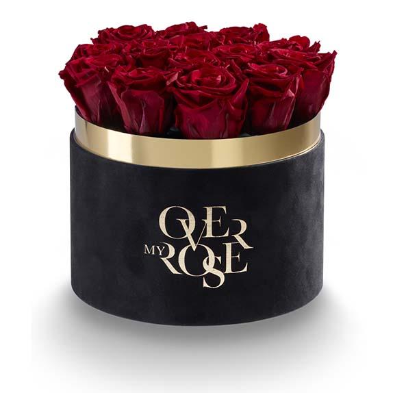 rose stabilizzate in scatola CILINDRO-NERO-VELLUTO-ROSSE